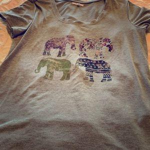 Ladies Maurice's grey elephant tee L